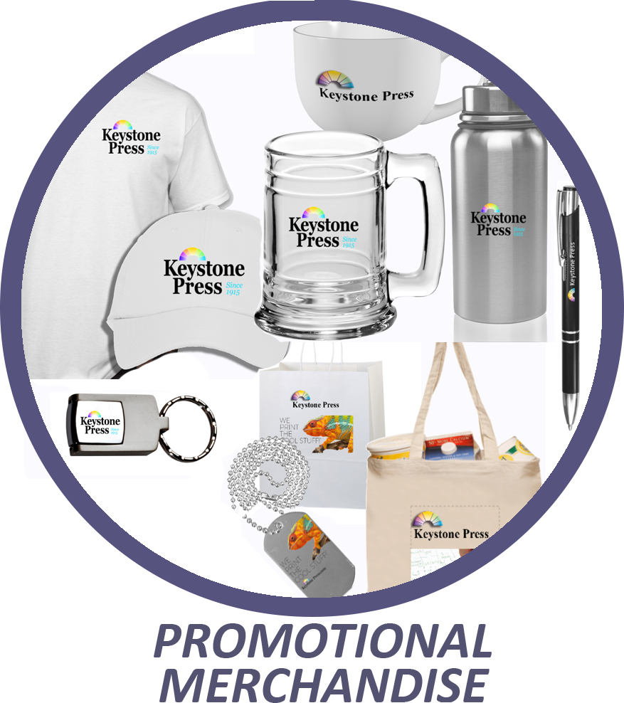 Keystone Press and Town & Country Reprographics prints promotional merchandise.