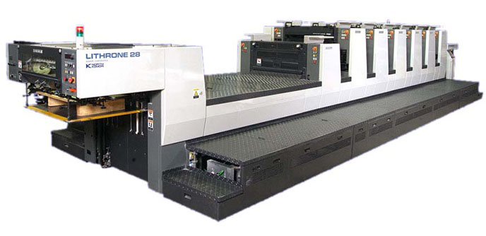 Kamori Lithrone28-L628 Offset printing press for commercial quantity printing products.