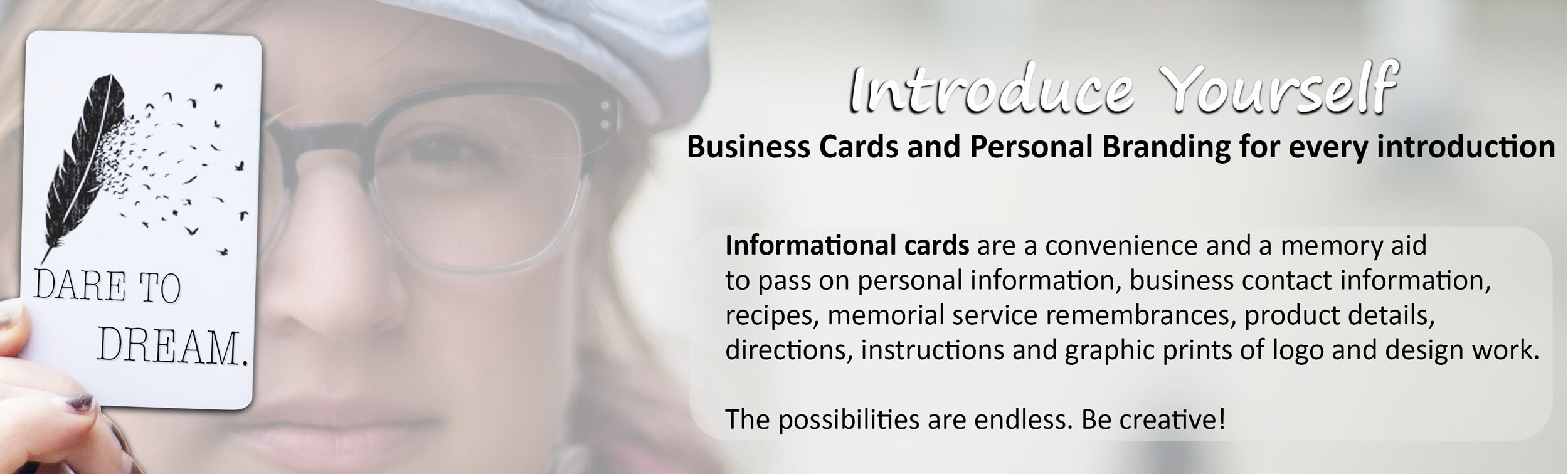 Informational Business Cards and Palm Cards