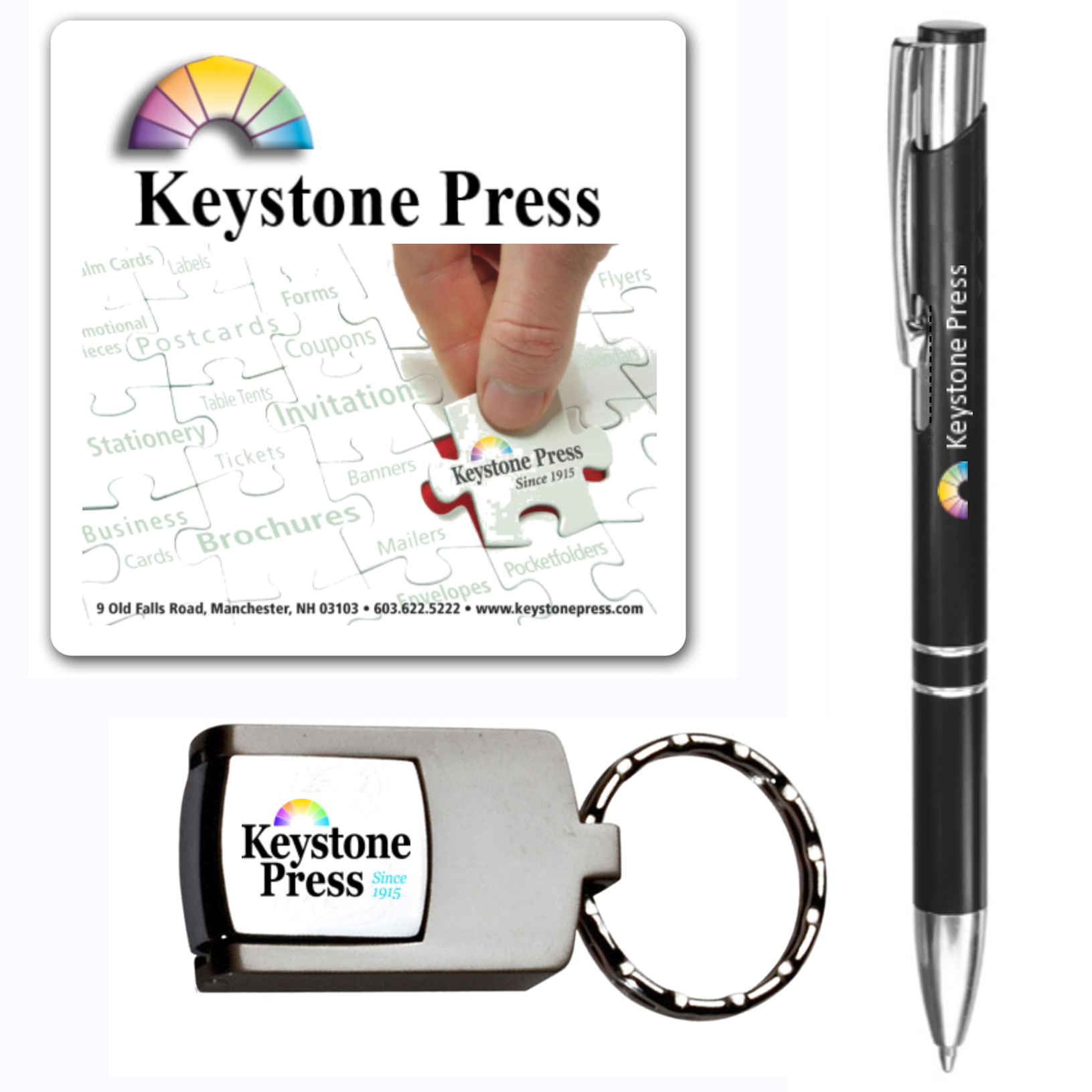 Keystone Press prints logo branded magnets, decals, writing utensils and accessories