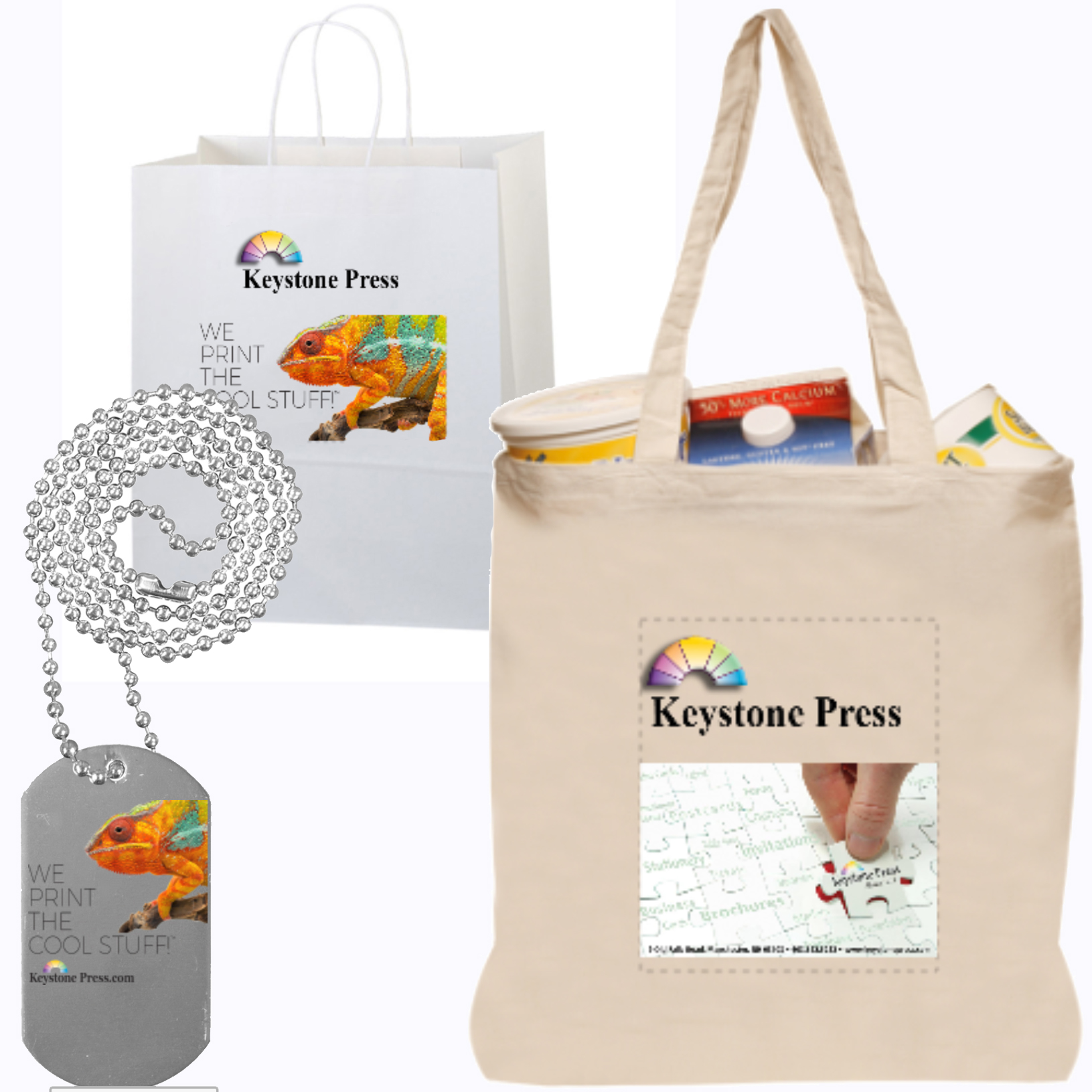 Keystone Press prints logo branded bags, totes, tags and household items