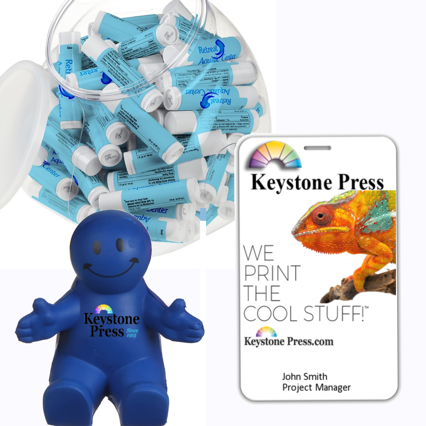 Keystone Press prints logo branded trade show giveaways, lanyards and ID tags