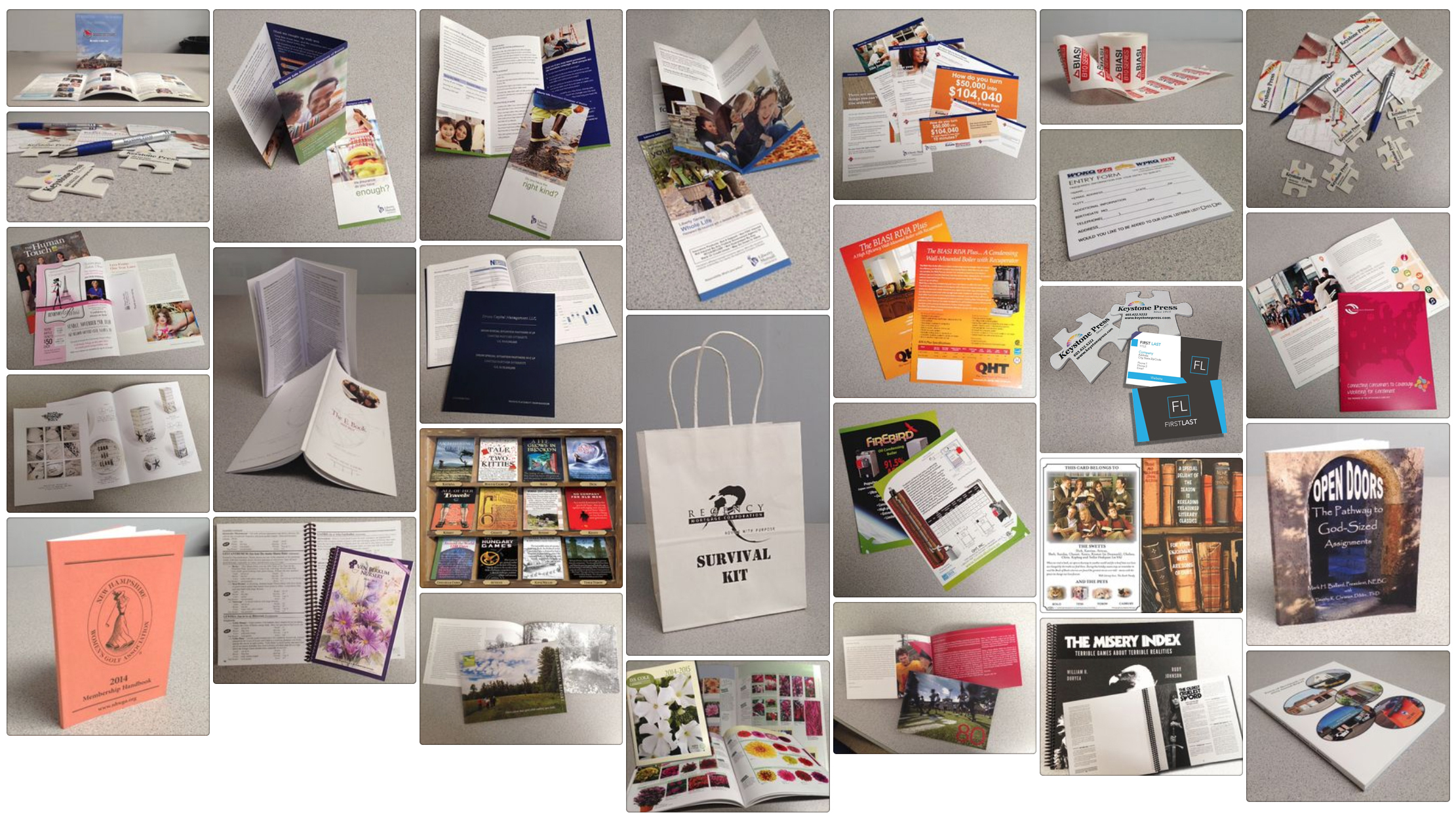 books, pads, business cards, gift bags, town reports, billing statements, brochures, sell sheets, flyers, postcards