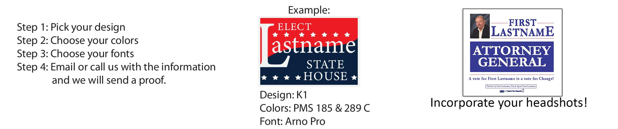 Union political printing, palm cards, coroplast signs, polybags, door hangers, post cards.